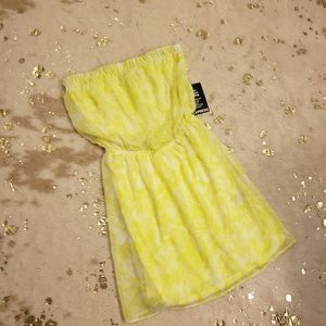 NEW Express XS Sheer Yellow Strapless Mini Dress